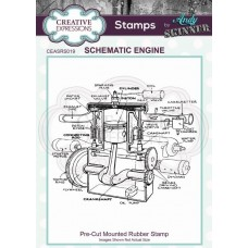 Andy Skinner Cut Rubber Stamp - Schematic Engine