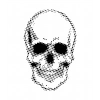 Creative Expressions - 7 x 7 Stencil by Andy Skinner - Half Tone Skull