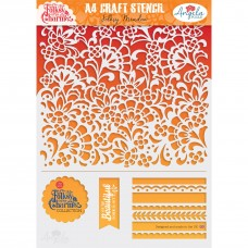 Angela Poole Craft Stencil Folksy Charm – Folksy Meadow A4