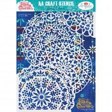 Angela Poole Craft Stencil Folksy Charm - Floral Charm A4