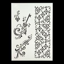 Angela Poole- A4 Craft Stencil - Vintage Flourishes