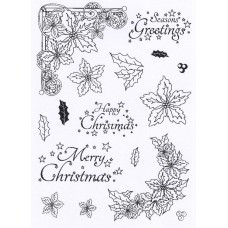 Poinsettia Corner Elements - A5 Clear Stamp Set