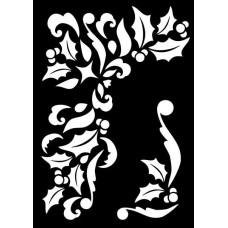Creative Expressions Mini Stencil Holly Corner