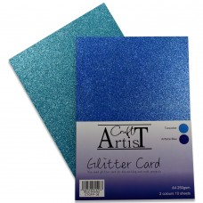 Craft Artist - A4 Glitter Card - Blue Shades