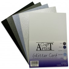 Craft Artist - A4 Glitter Card - Monochrome