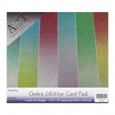 Craft Artist - Ombre Glitter Card Pack 12'' x 12''