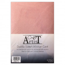 Craft Artist - A4 Double Sided Glitter Card - Baby Pink
