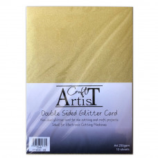 Craft Artist - A4 Double Sided Glitter Card - Gold