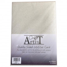Craft Artist - A4 Double Sided Glitter Card - Silver