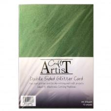 Craft Artist - A4 Double Sided Glitter Card - Evergreen