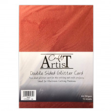 Craft Artist - A4 Double Sided Glitter Card - Red
