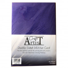 Craft Artist - A4 Double Sided Glitter Card - Airforce Blue