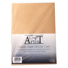 Craft Artist - A4 Double Sided Glitter Card - Rose Gold