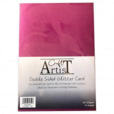 Craft Artist - A4 Double Sided Glitter Card - Fuchsia