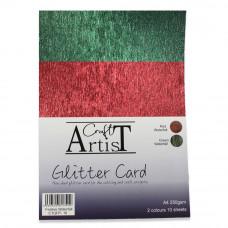 Craft Artist A4 Glitter Card - Festive Waterfall