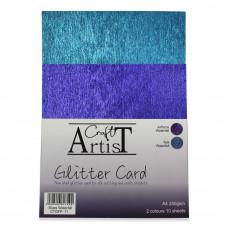 Craft Artist A4 Glitter Card - Blues Waterfall