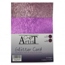 Craft Artist A4 Glitter Card - Pinks Waterfall