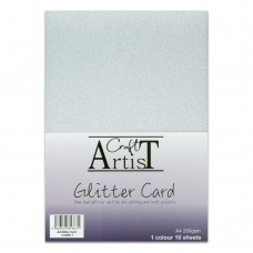 Craft Artist - A4 Glitter Card - Silver