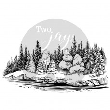 Two Jays Clear Stamp - Tree Line
