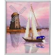 Boat Windmill - Crystal Art Picture Frame Kit 21 x 25cm