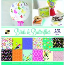 "Birds and Butterflies Premium Card Stack 48 sheets 12"" x 12"""