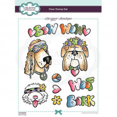 Designer Boutique Collection - Hippie Dogs A5 Clear Stamp