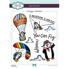 Designer Boutique Collection - Flying Penguins A5 Clear Stamp