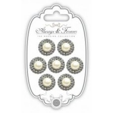 Pearl & Diamante Circle Charms - Large Pk 7