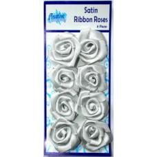 Satin Ribbon Roses Silver pk 8
