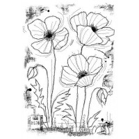 Woodware Clear Singles - Stitched Poppies