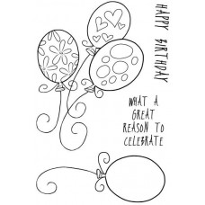 Woodware Clear Singles Stamps - Birthday Balloons