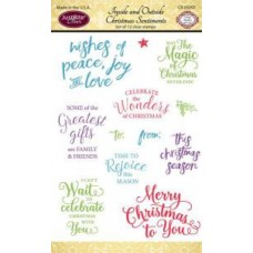 Inside and Outside Christmas Sentiments Set of Clear Stamps