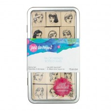 Jane Davenport by Spellbinders - Tin of Friends - Wood Mounted Rubber Stamps