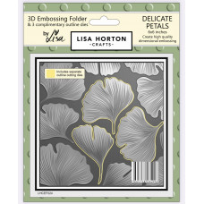 Lisa Horton Crafts - 3D Embossing Folder - Delicate Petals (with 3 coordinating outline dies)