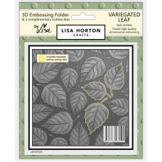Lisa Horton Crafts - 3D Embossing Folder - Variegated Leaf (with 3 co-ordinating outline dies)