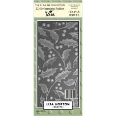 Lisa Horton Crafts - Holly and Berries Slimline 3D Embossing Folder
