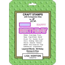 Lisa Horton Crafts - Layered Words - Birthday - Stamps & Dies Set
