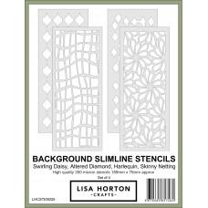 Lisa Horton Crafts - Set of 4 Background Slimline Stencils