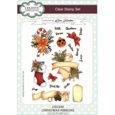 Christmas Ribbons A5 Clear Stamp Set