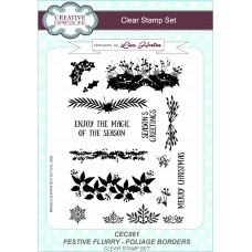 Foliage Borders Festive Flurry A5 Clear Stamp Set