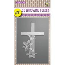 Nellie Snellen 3D Embossing Folder - Cross with Lilies