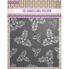 Nellie Snellen 3D Embossing Folder - Holly Leaves and Berries
