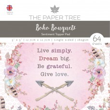 "Paper Tree Boho Bouquets 5"" x 5"" Sentiment Pad"