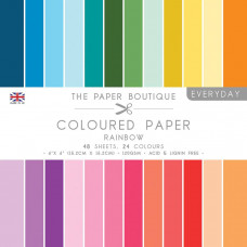The Paper Boutique Everyday – Coloured Paper Packs – Rainbow 6''x6''
