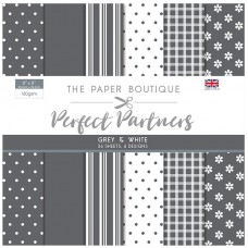 The Paper Boutique - Perfect Partners 8x8 Paper Pad - Grey & White