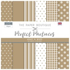 The Paper Boutique - Perfect Partners 8x8 Paper Pad - Kraft & White