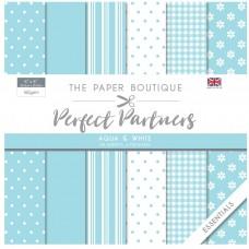 The Paper Boutique Perfect Partners 8×8 Paper Pad – Aqua & White