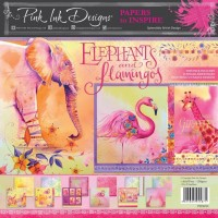Pink Ink Designs - Elephants and Flamingos 8 x 8 Paper Pad