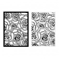 Presscut A6 Embossing Folder and Clear Stamp - Roses In Bloom