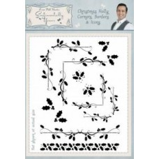 Christmas Holly Corners, Borders & Icons A5 Clear Stamp Set